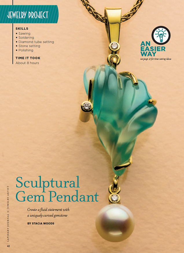 Stacia Woods's Sculptural Gem Pendant appeared in Lapidary Journal Jewelry Artist January/February 2013; photo: Jim Lawson