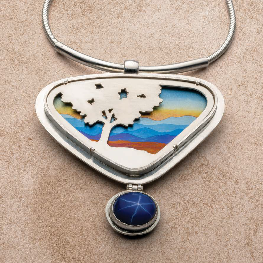 Noël Yovovich loves to figure out how to build a design and building on what she has figured out before. Take the Long View is a series of jewelry she's created, so named because the design has no middle ground. It appears as a project within a special section on design development in Lapidary Journal Jewelry Artist March/April 2019. Photo: Jim Lawson