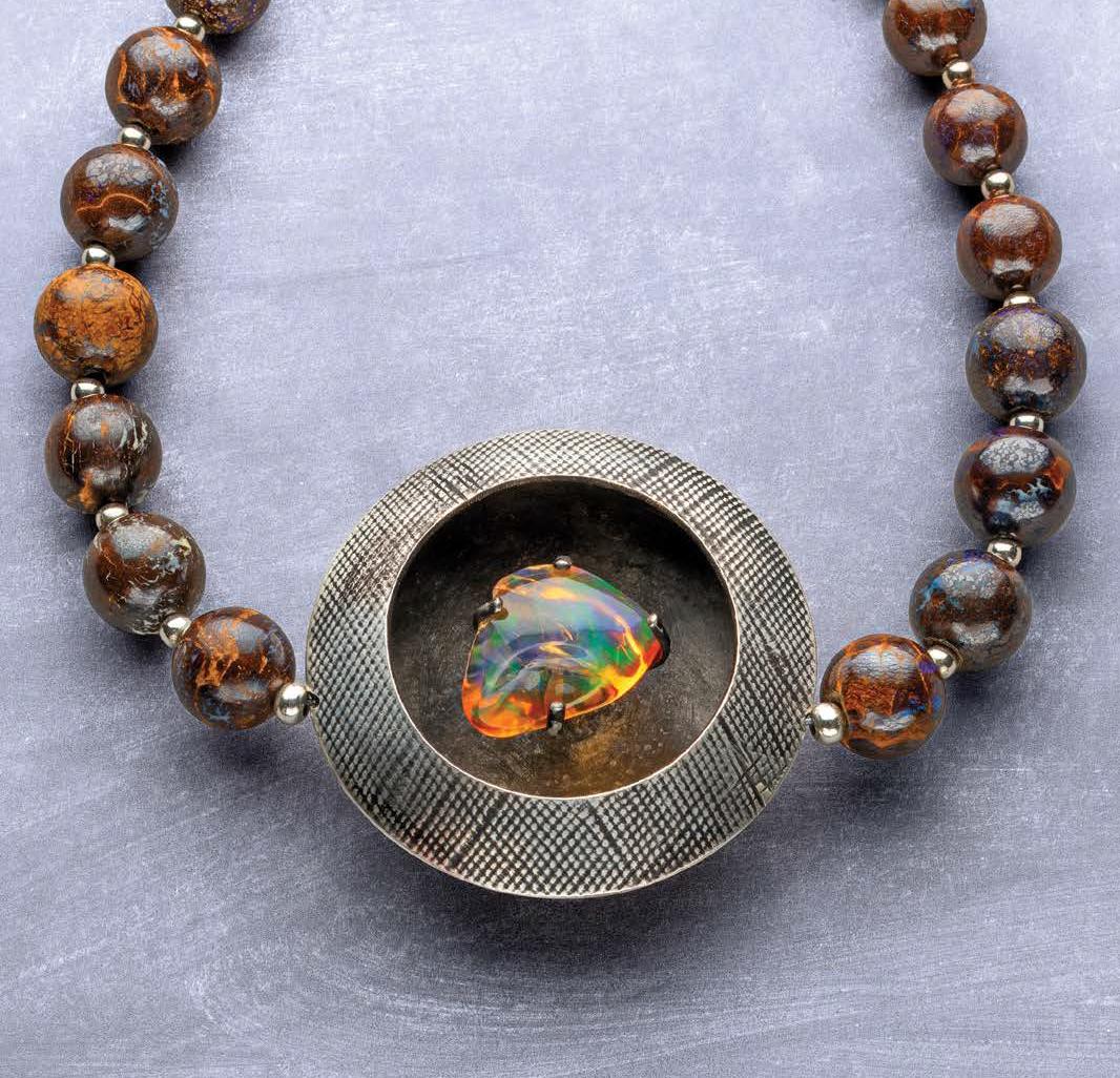 Noël Yovovich walks you through setting a freeform precious Mexican opal in her project, Floating Opal; photo: Jim Lawson