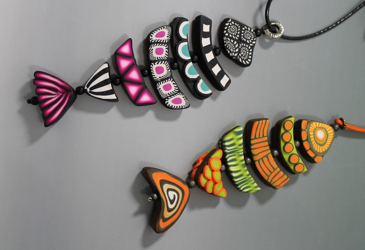 Learn to make color blends, canes, and more with polymer clay in Gone Fishing with Lynn Yuhr