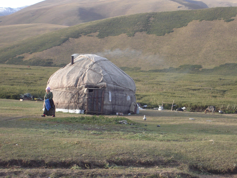 A traditional yurt in Kyrgyzstan. Many families still live in yurts with their flocks during the warmer months, often returning to their villages for the winter. Photo by Tamara Kula.